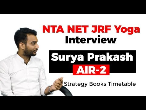 NTA NET JRF Yoga cleared by Surya Prakash AIR 2 -  Strategy for Paper 1 and Paper 2 #UGCNET