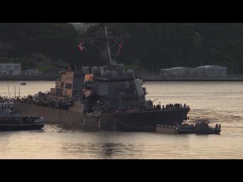 USS Fitzgerald Returns to Yokosuka, Japan After Collision at Sea