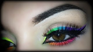 Summer 2014 - Neon Rainbow Eyeliner - Makeup Tutorial