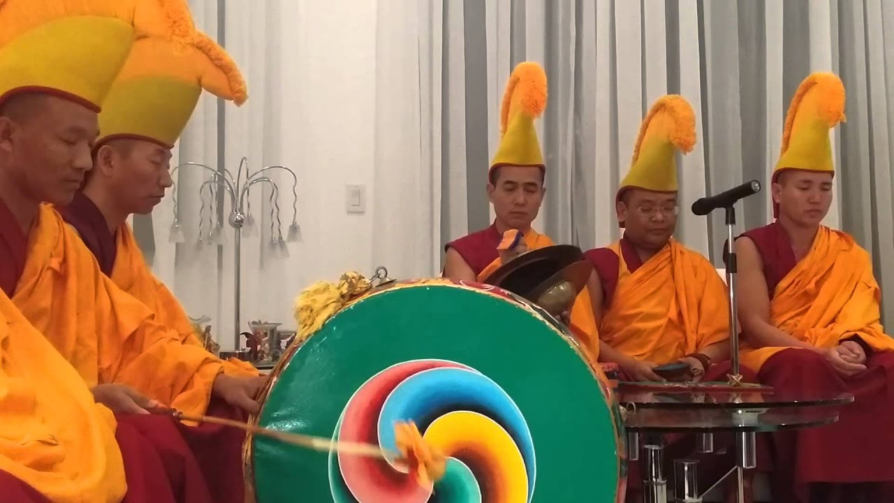Tibetan Monks from India Perform a Ceremony