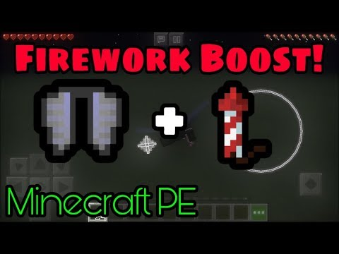 How To Use Fireworks To Boost Elytra - Minecraft PE (1.12+)
