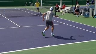 Milos Raonic Forehand, Backhand and Serve In Super Slow Motion - Indian Wells 2013 - BNP
