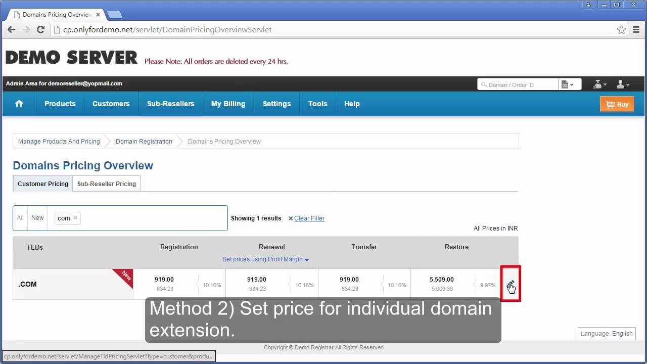 How do I Setup the Domain Registration Product - Hosting