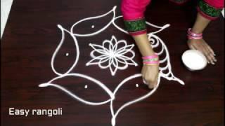 fish kolam designs with 5x3 dots || fish muggulu designs with dots || easy rangoli designs