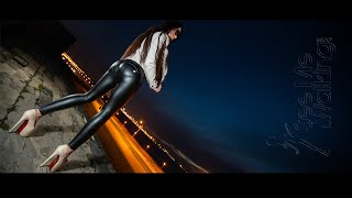 Sexy Walking in Freddy Leather Leggings at Night