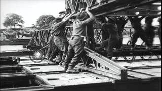British Engineers At Work During The Construction Of Bailey Bridge Near Cean In F...hd Stock Footage