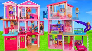Barbie Dolls: All Dreamhouse Dollhouses w/ Kitchen & Bedroom Toys Doll Play for Kids