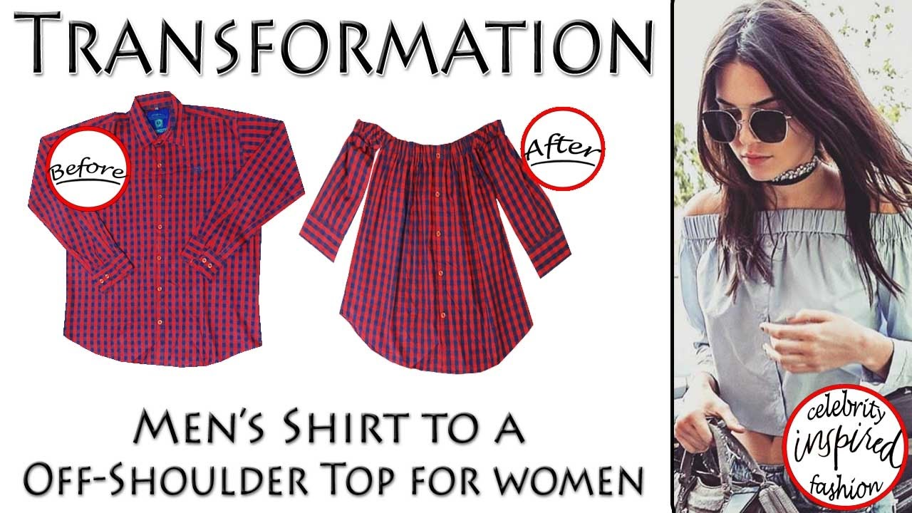 5b23c0b9514 Transformation of Shirt into an Off-shoulder top (Hindi) inspired by  Kendell Jenner - YouTube