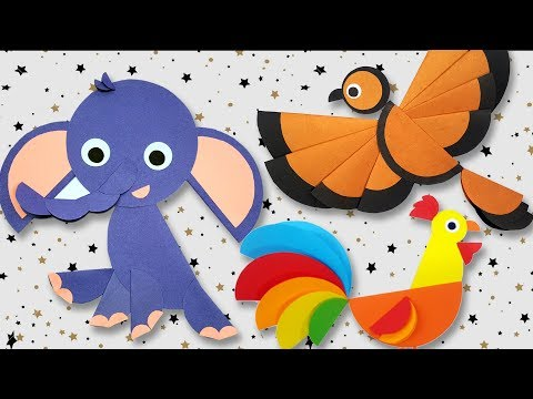 Paper Craft Ideas with Circles | Sparrow | Rooster | Elephant