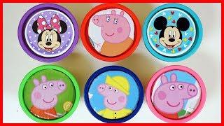 佩佩豬和迪士尼米妮的培樂多盒尋寶,找到驚喜玩具和巧克力出奇蛋