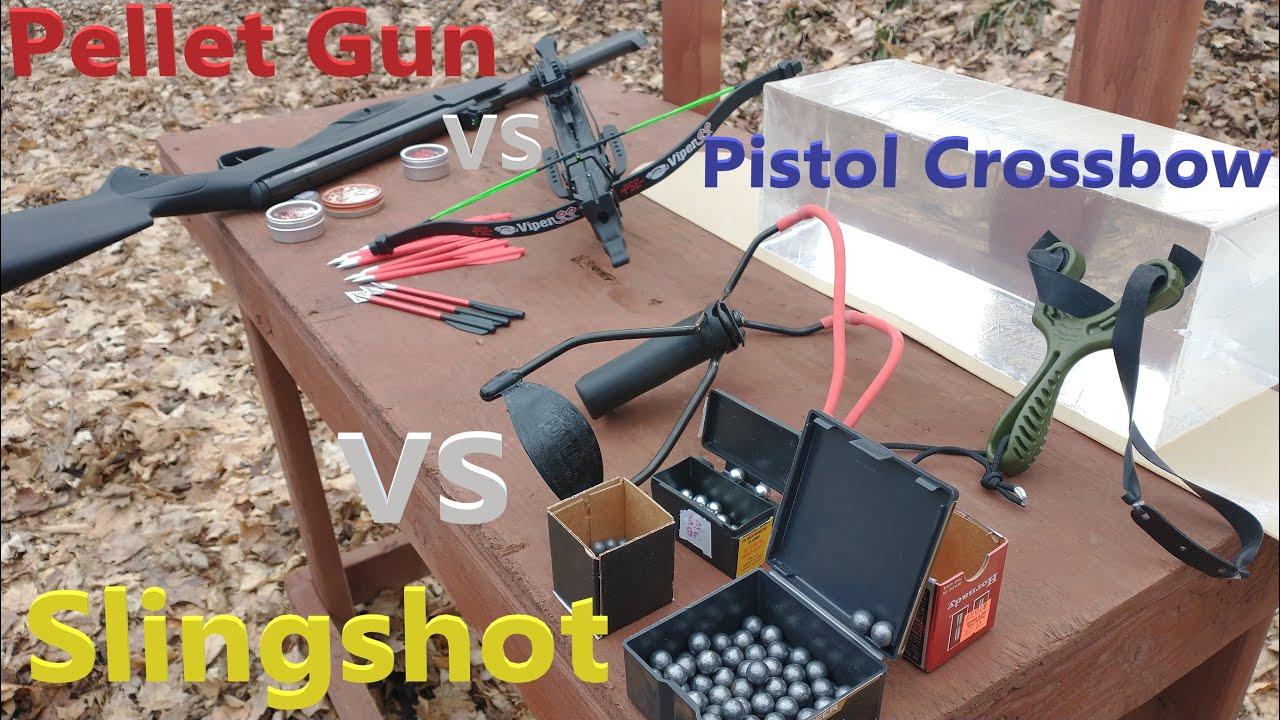 Slingshot VS Pellet Gun VS Pistol Crossbow ULTIMATE Ballistics Gel Test