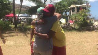 Cardiac arrest survivor thanks rescue personnel with hugs, lunch
