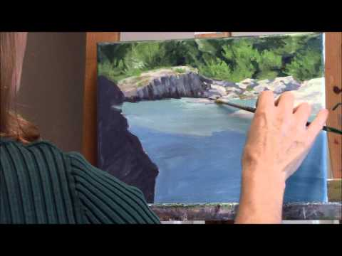 """Shady River"" Part 1 – White Water River and Cliffs Acrylic Landscape Painting Demo"