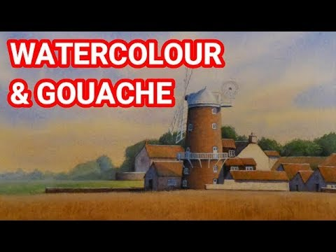 Watercolour And Gouache Landscape Painting Demonstration, How to Paint Landscapes, Mixed Media