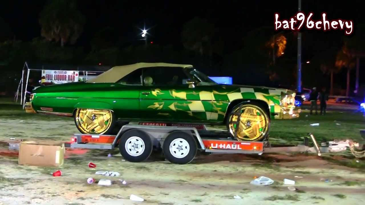 "Green & GOLD Flamed 1975 Caprice Donk on 28"" GOLD DUB ..."