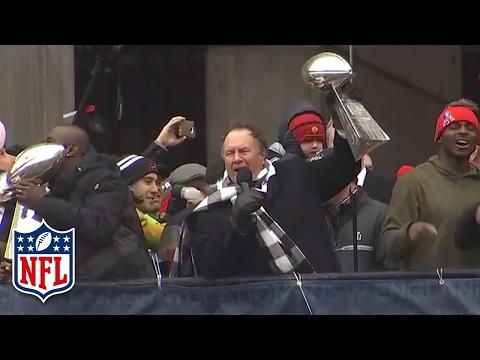"Bill Belichick Starts a ""No Days Off!"" Chant During Super Bowl LI Victory Parade | NFL"