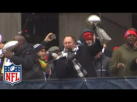 "Bill Belichick Starts a ""No Days Off!"" Chant During Super Bowl LI Victory Parade 