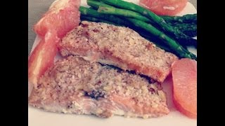 Almond Crusted Salmon And Baked Asparagus