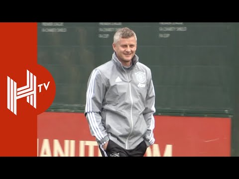 Ole Solskjaer all smiles as he leads Man Utd training