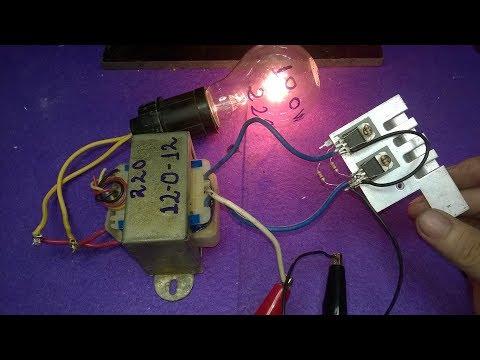 Make inverter 12v to 220v 200W, Simple circuit diagram, ( use 12 0 12 transformer )