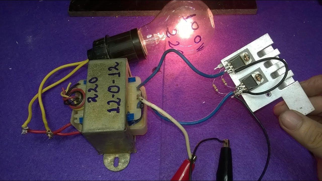 make inverter 12v to 220v 200w simple circuit diagram use 12 0 12 transformer  [ 1280 x 720 Pixel ]
