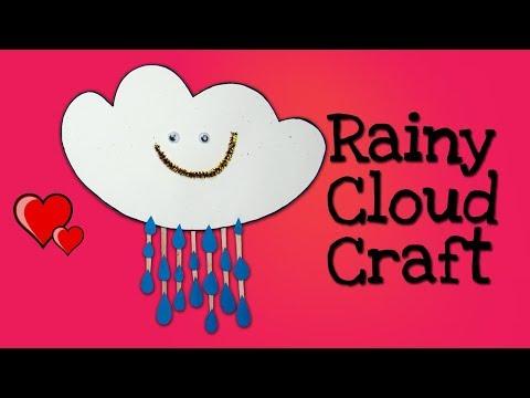 DIY Rainy Cloud Paper Craft in 8 Simple Steps. Kids Rood Decor Idea.