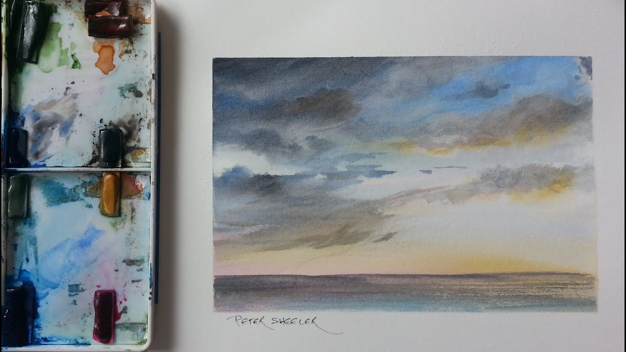 How to paint a sunset storm clouds mood sky tutorial by for Video tutorial on watercolor painting