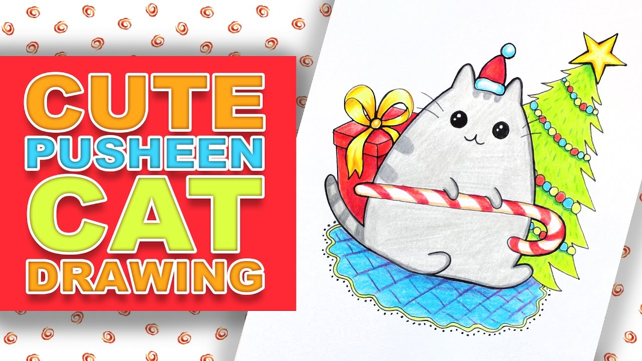 How to Draw Pusheen Cat for Christmas - YouTube