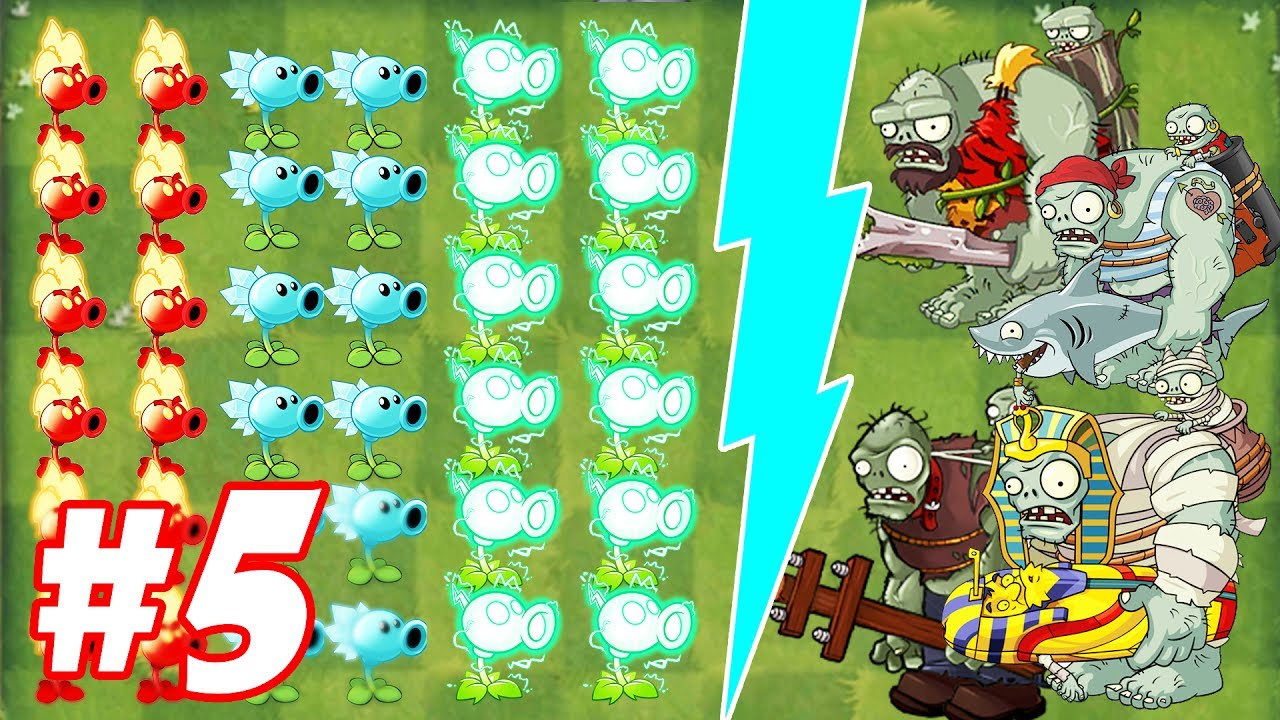 Plants vs Zombies 2 : Fire Peashooter ,Snow Pea, Electric Peashooter vs Mummified Gargantuar #5