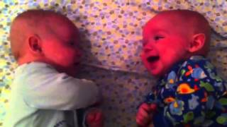 cutest twin babies talking!
