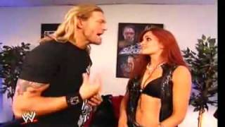 Maria backstage with Chris Jericho and Edge