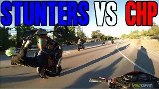 Pack of motorcycle stunters chased through California by State Troopers