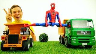 Человек Паук и Фёдор   Игры гонки на грузовиках для супергероев