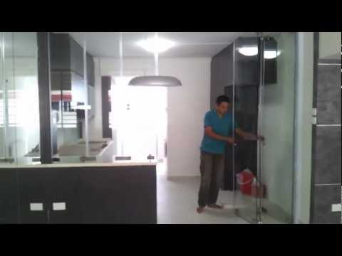 Frameless Door System(Close Demo Video) Singapore Serangoon HDB 4 Room Stylish Design Modern Kitchen