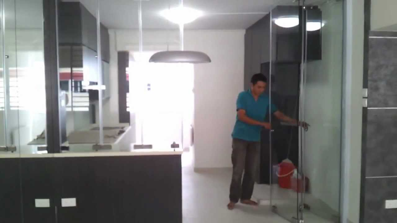 Frameless door system close demo video singapore serangoon hdb 4 room stylish design modern Kitchen door design hdb