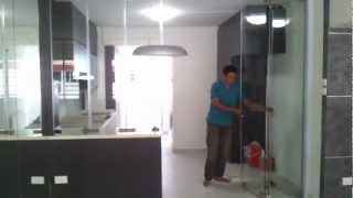 Frameless Door System(close Demo Video) Singapore Serangoon Hdb 4 Room Stylish Design Modern Kitchen
