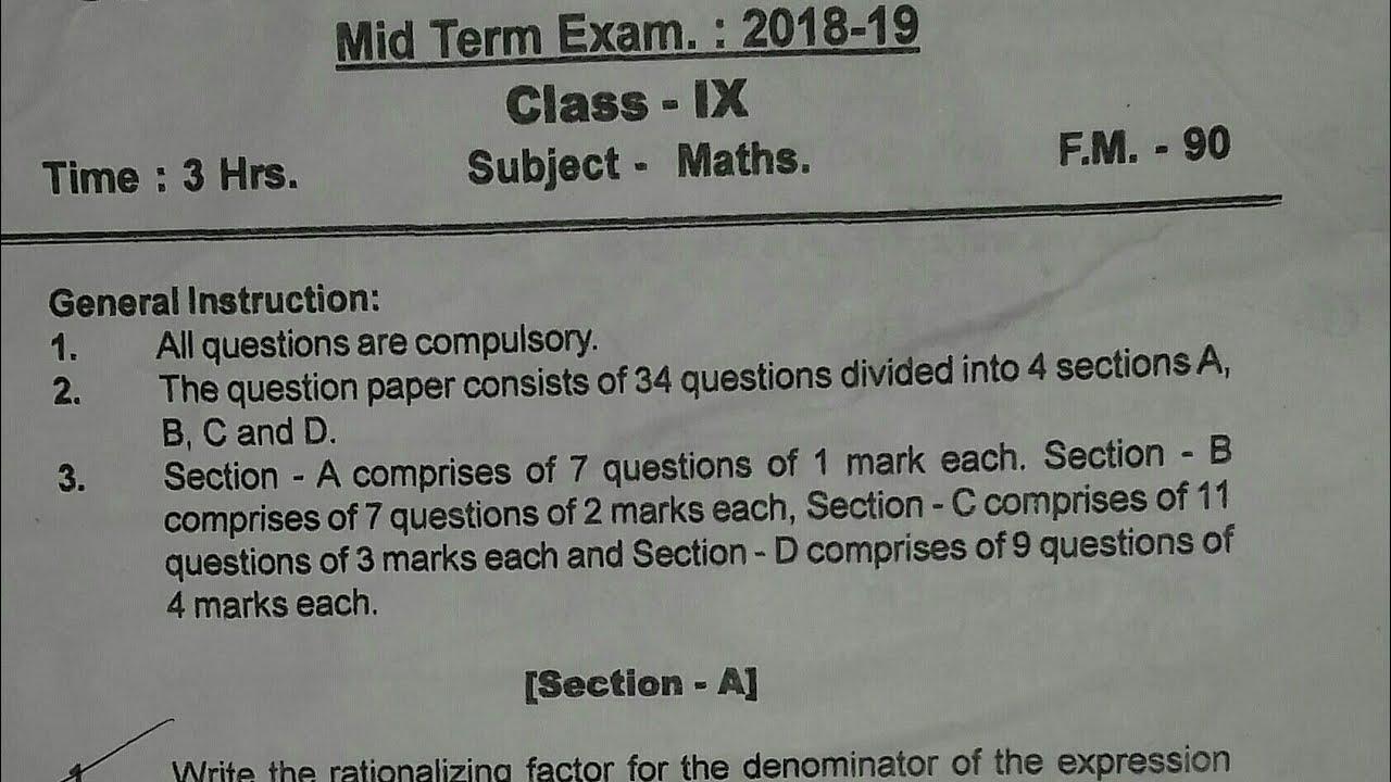 CBSE Class 9 Maths Mid-Term Exam Paper(2018-19)