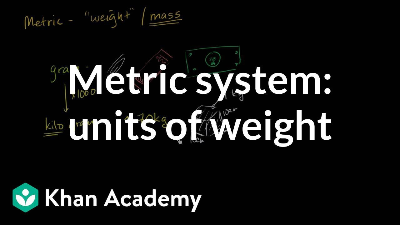 Metric System Units Of Weight Video Khan Academy