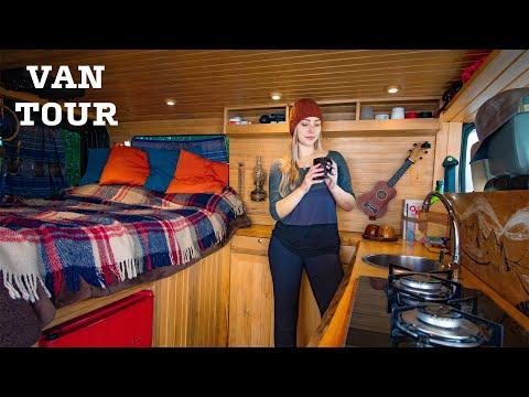 VAN TOUR | TONS of Smart Ideas in this DIY Off-Grid Tiny Van w/ Toilet & Shower