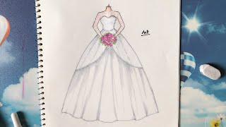 How to Draw a Wedding Dress 24 - Vẽ Váy Cưới - An Pi TV Coloring
