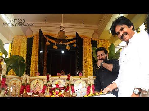 #NTR28Launch Pooja Ceremony || Jr. NTR - Pawan Kalyan - Trivikram Srinivas || Production No 5