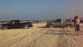 old school chevy pulling new chevy i almost got stuck but not in my chevy z71