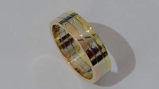 Handmade three color gold band ring 18 kt