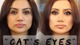 """Макияж """"Кошачий глаз"""" / Cat`s eye`s makeup tutorial, СТРЕЛКИ."""