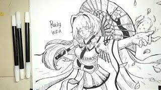 Cara Menggambar Kagura Skin Cherry Witch Hero Mobile Legends