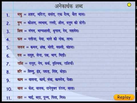 अनेकार्थी शब्द   Many Meanings Words in Hindi