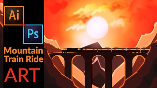 How to make Flat landscape Wallpaper : Train Ride throw a valley Using illustrator & Photoshop