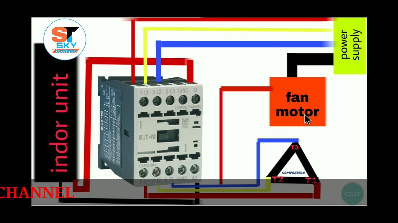 skytechinfo 3 phase compressor wiring. 3 phase ac wiring. Hindi/urdu -  YouTubeYouTube
