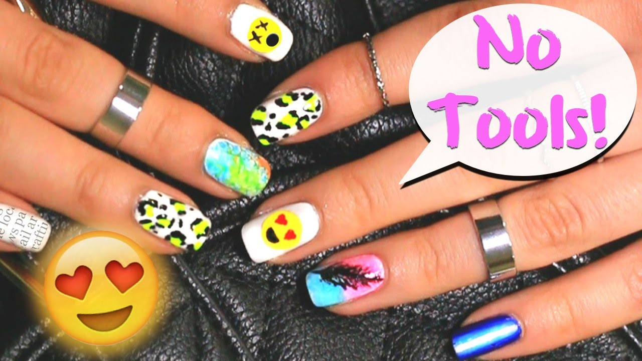 6 easy nail art designs for beginners ♡ - YouTube - No Tools Needed! 6 Easy Nail Art Designs For Beginners ♡ - YouTube
