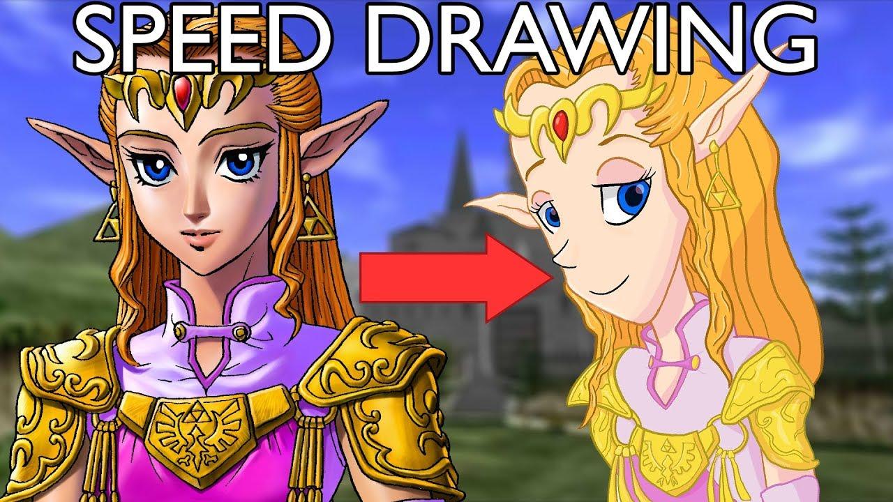 Speed Drawing Princess Zelda Ocarina Of Time
